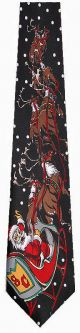 KN-XD0161 - Santa in Flight (Black) Ties Neckties detailed image