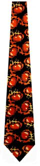 TGN-100 - Flaming Hearts (Black) Ties Neckties detailed image